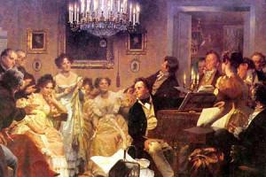 Schubertiade met Franz Schubert aan de piano, Julius Schmidt, 1897