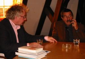 Steve Austen en Günter Grass (Nobelprijs voor de Literatuur, 1999), oprichters van Gulliver  ('the informal working body of Gulliver, 1987, Amsterdam) tijdens een bezoek aan Felix.